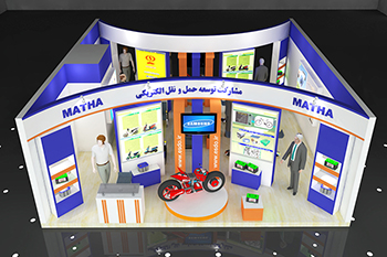 غرفه شرکت صباباتری - نمایشگاه بین المللی تهران - طراحی غرفه نمایشگاهی